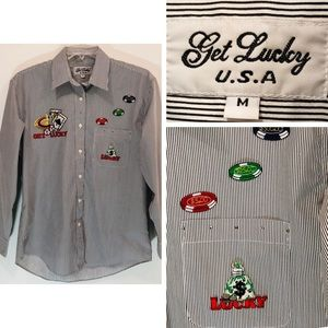 GET LUCKY Button Down Shirt Embroidered Casino M
